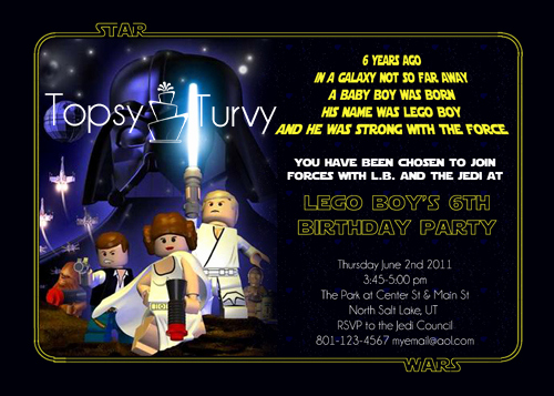 Star Wars Invitation Templates Free Lovely Lego Star Wars Birthday Party Invitation