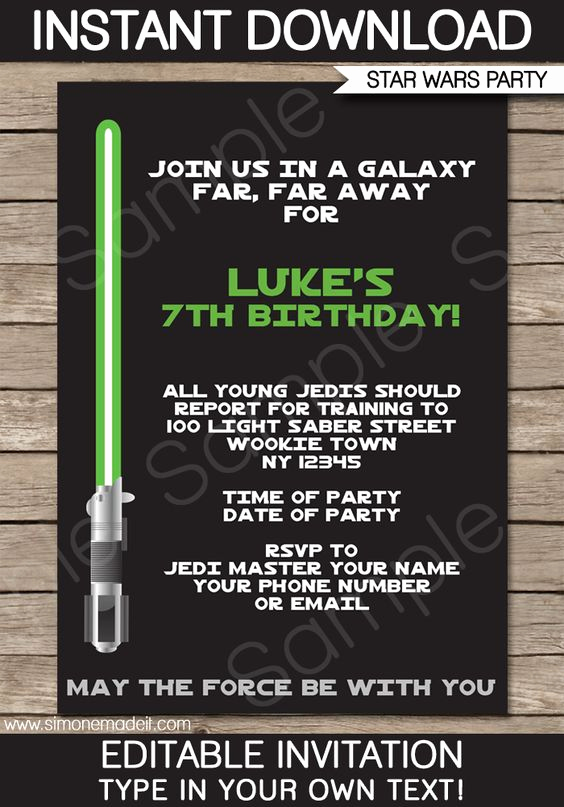 Star Wars Invitation Templates Free Luxury Star Wars Party Invitations Template – Green Blue Red