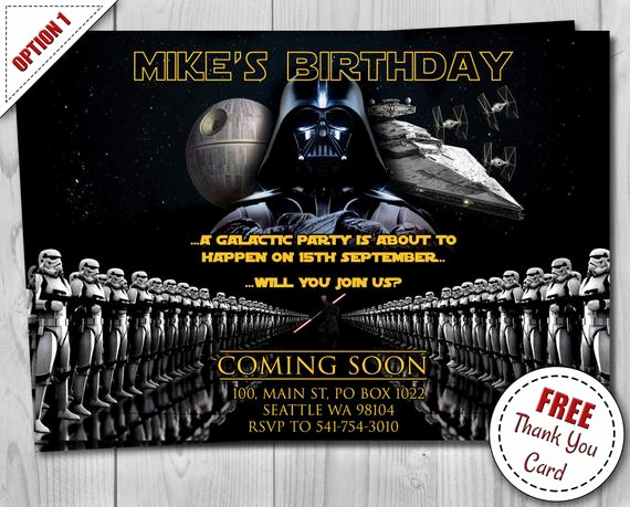 Star Wars Invitation Templates Free Unique Star Wars Birthday Invitation Darth Vader Party by