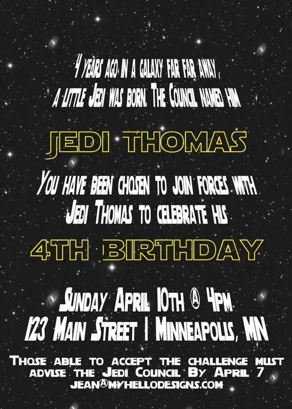 Star Wars Invitation Templates Fresh Printable Star Wars Inspired Invitation Jedi Invite Diy