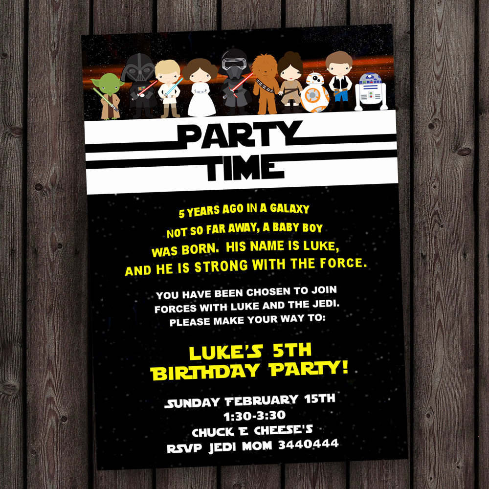 Star Wars Invitation Templates Lovely Star Wars Invitation the force Awakens Invitation Star Wars