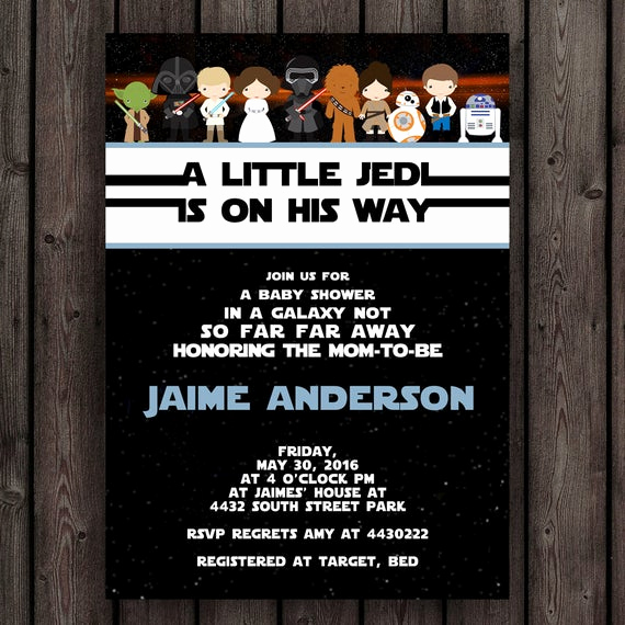 Star Wars Invitation Wording Beautiful Star Wars Baby Shower Invitation Starwars Invitation Star