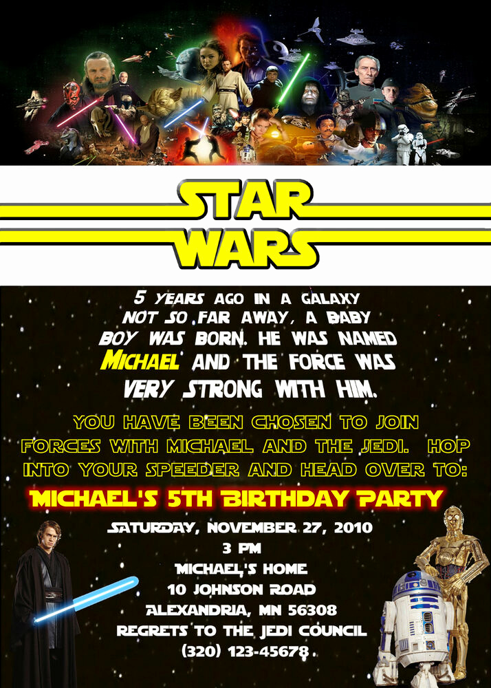 Star Wars Invitation Wording Inspirational Custom Star Wars Birthday Invitation Unlimited Quantity