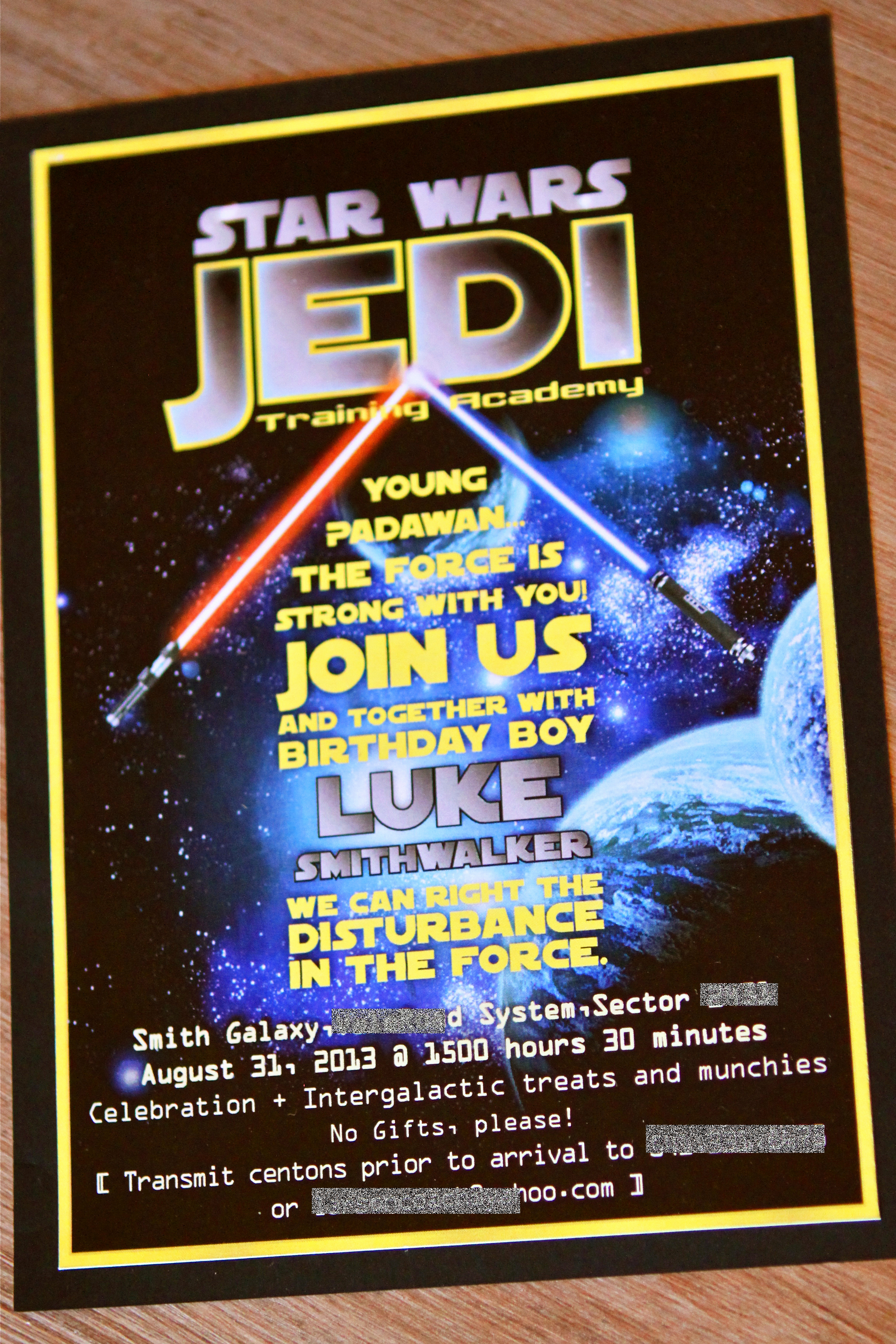 Star Wars Invitation Wording Luxury Jedi Training Party Invitation