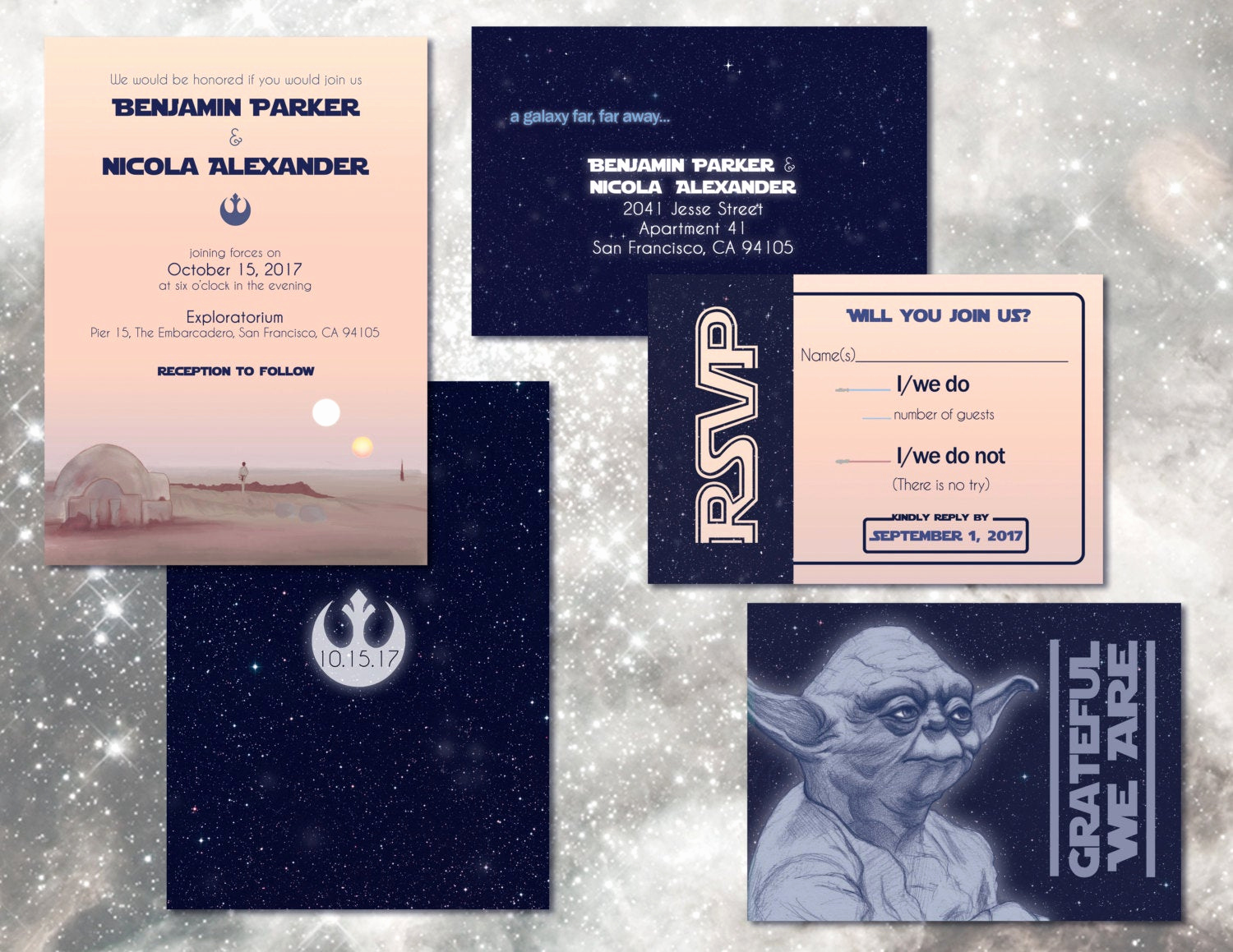 Star Wars Invitation Wording New Star Wars Wedding Invitation Set Digital Custom Invitations