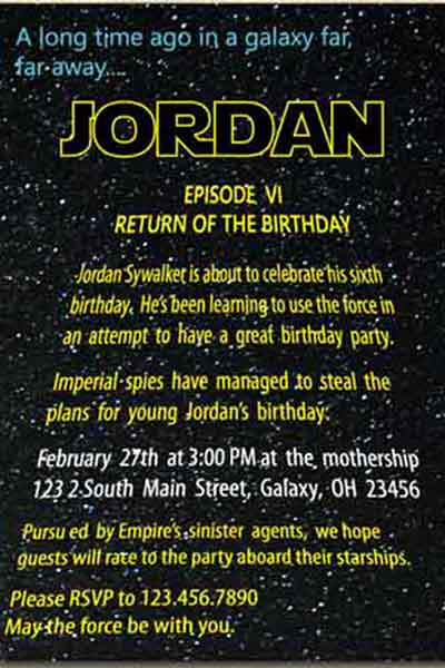 Star Wars Invitation Wording New the Best Star Wars Birthday Invitations by A Pro Party