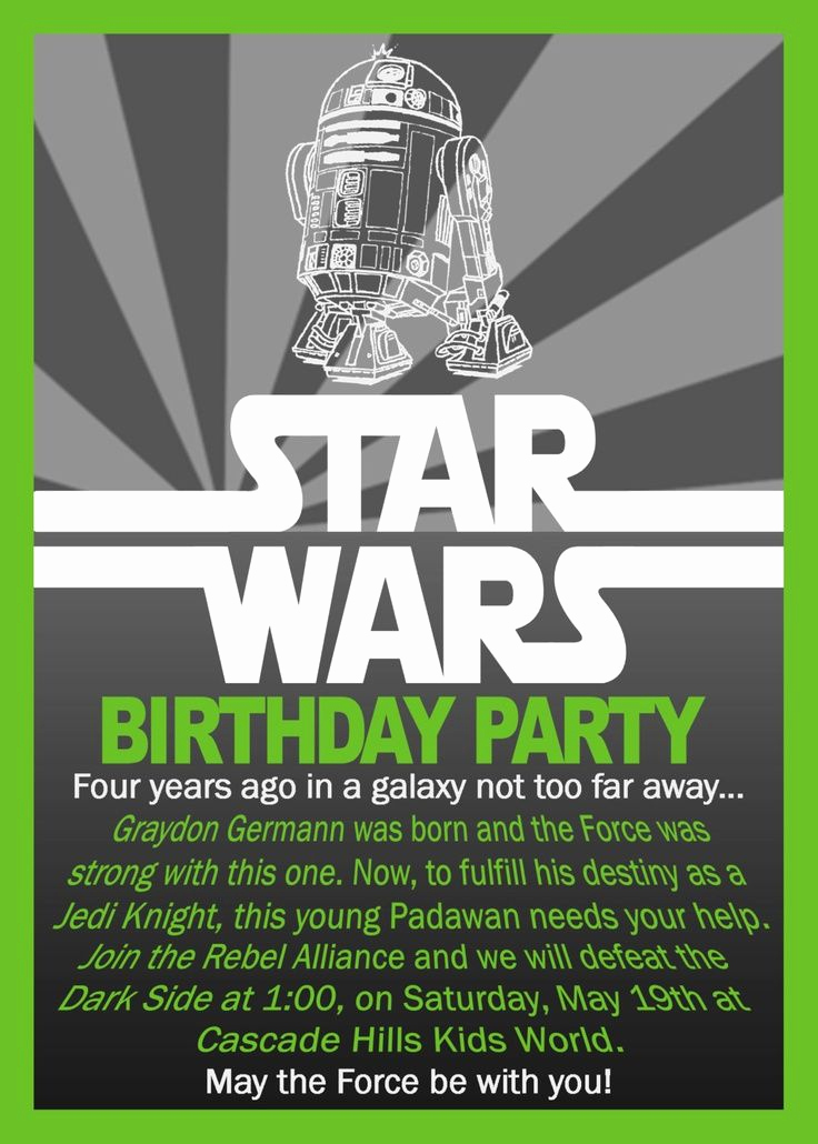 Star Wars Party Invitation Template Beautiful Free Printable Star Wars Birthday Invitations
