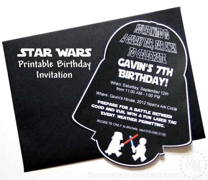 Star Wars Party Invitation Template Beautiful Star Wars Darth Vader Printable Birthday Invitation