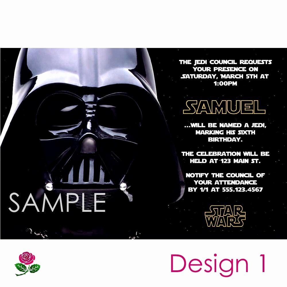 Star Wars Party Invitation Template Unique Darth Vader Birthday Invitation