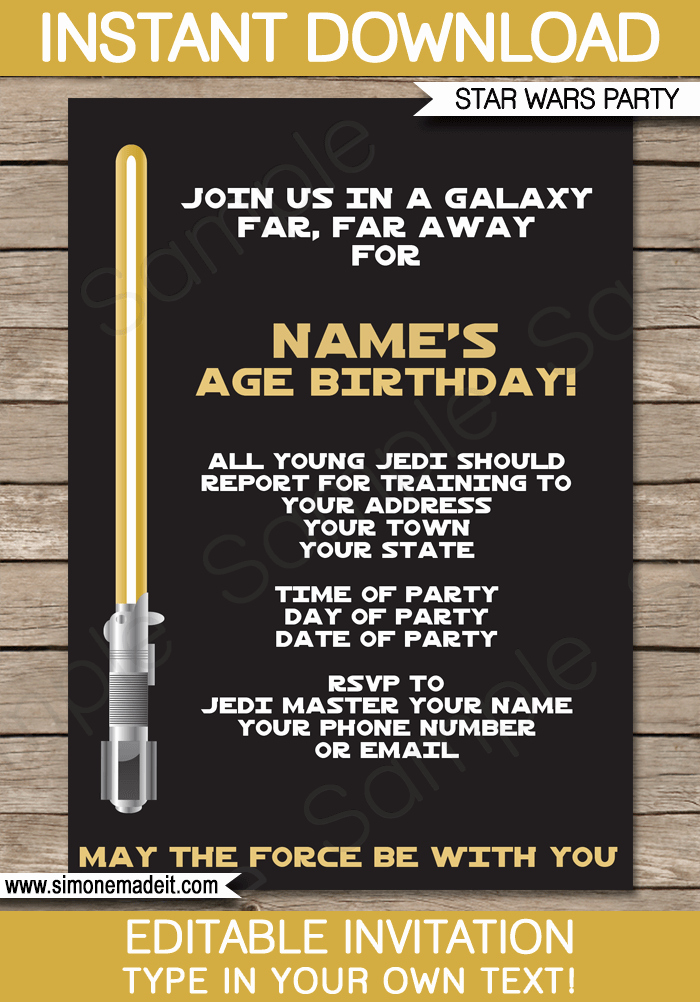 Star Wars Party Invitation Templates Fresh Gold Star Wars Invitations Editable Template