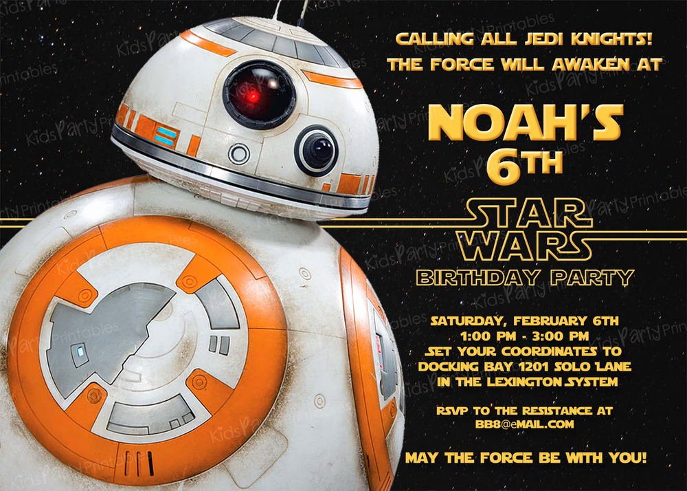Star Wars Party Invitation Templates Lovely 20 Bb8 Star Wars the force Awakens Birthday Party