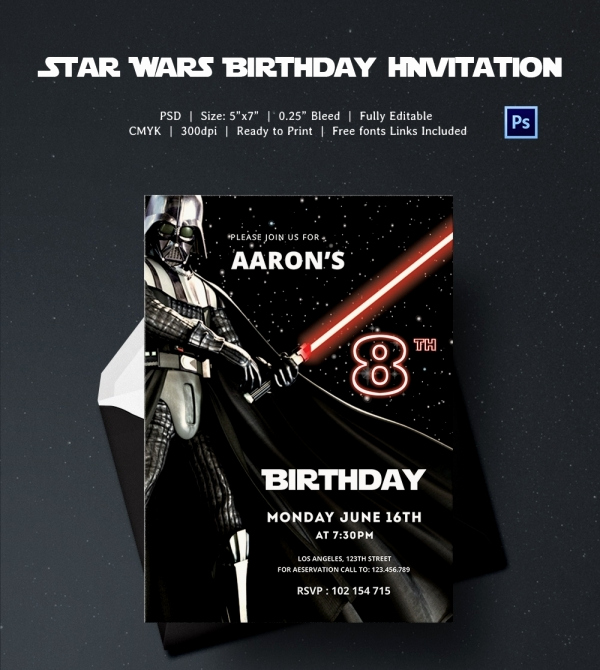 Star Wars Party Invitation Templates Unique 23 Star Wars Birthday Invitation Templates – Free Sample