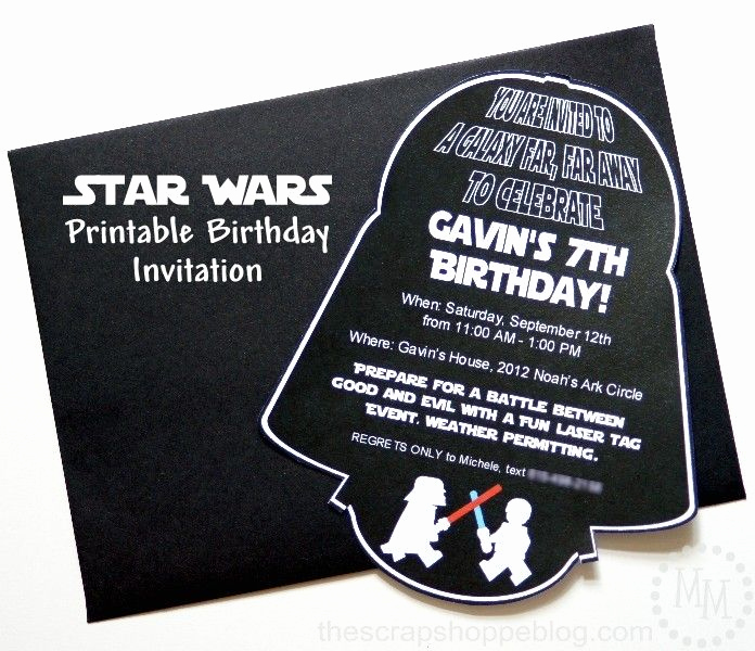 Star Wars Party Invitation Templates Unique Star Wars Darth Vader Printable Birthday Invitation