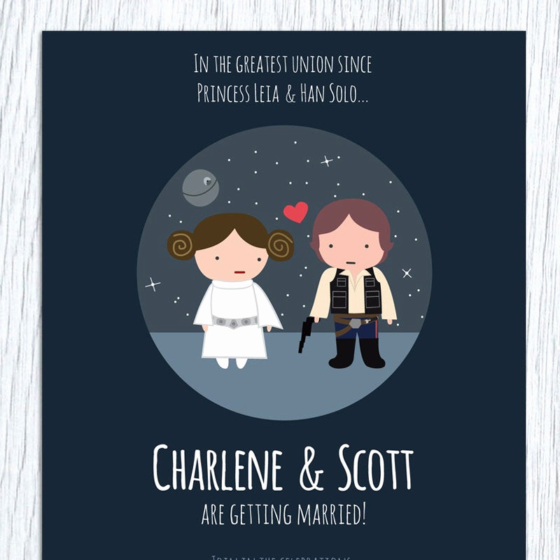 Star Wars Wedding Invitation Awesome Star Wars Printable Wedding Invitation Save the Date Rsvp