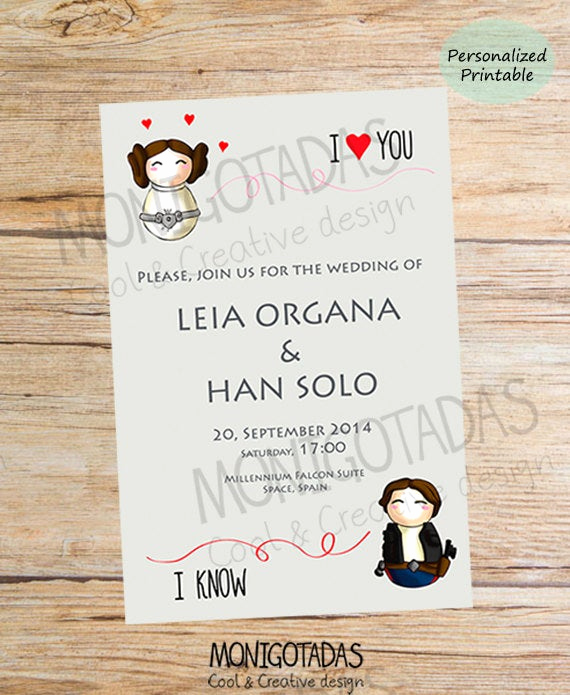 Star Wars Wedding Invitation Beautiful Items Similar to Star Wars Printable Wedding Star Wars