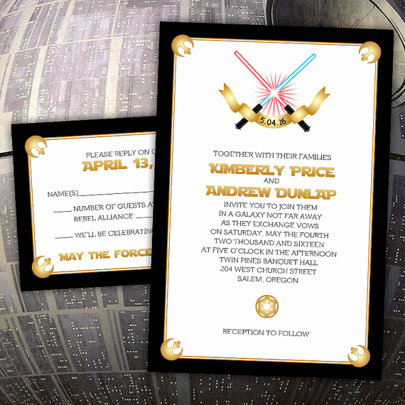 "Star Wars Wedding Invitation Best Of Custom ""force Love"" Star Wars Inspired Wedding"