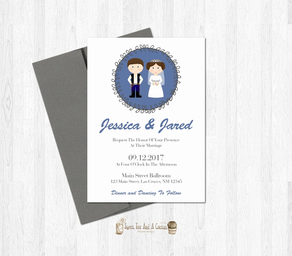 Star Wars Wedding Invitation Elegant Star Wars Wedding Invitation Han and Leia Printable Digital