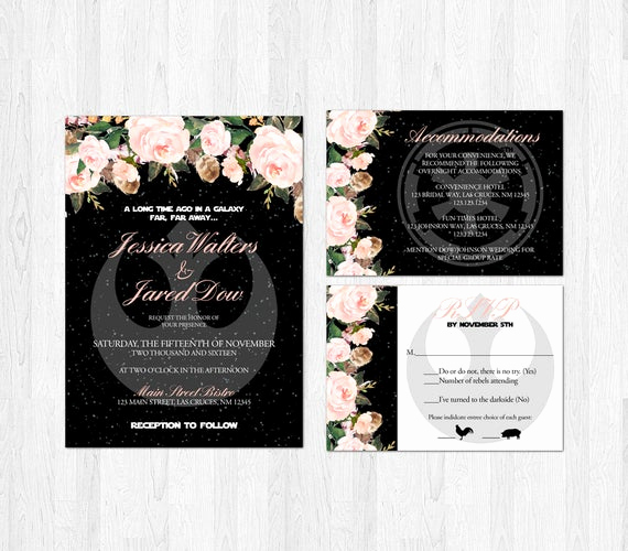 Star Wars Wedding Invitation Elegant Star Wars Wedding Invitation Set Blush Pink Floral Sci Fi Geek