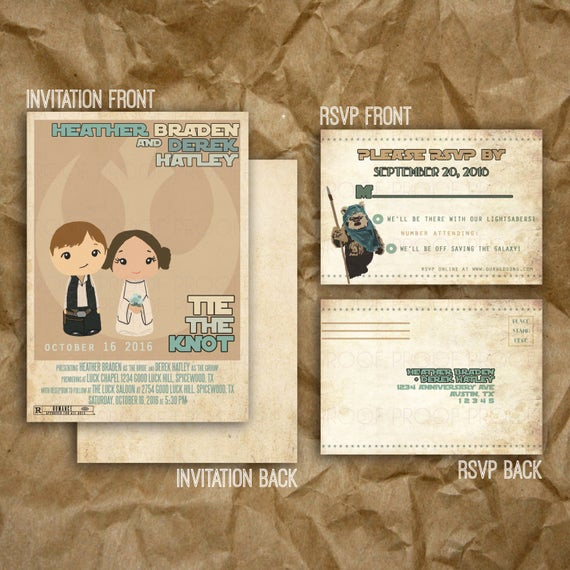 Star Wars Wedding Invitation New Star Wars Inspired Wedding or Party Invitation Printable