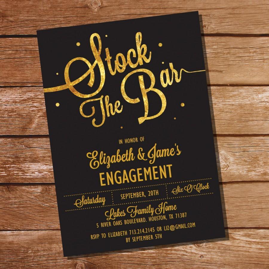 Stock the Bar Invitation Beautiful Gold Glitter Stock the Bar Engagement Party Invitation