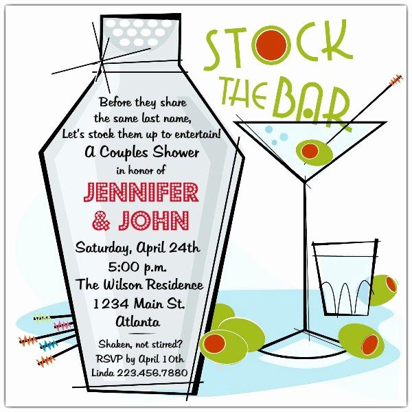 Stock the Bar Invitation Best Of Retro Martini Stock the Bar Shower Invitations