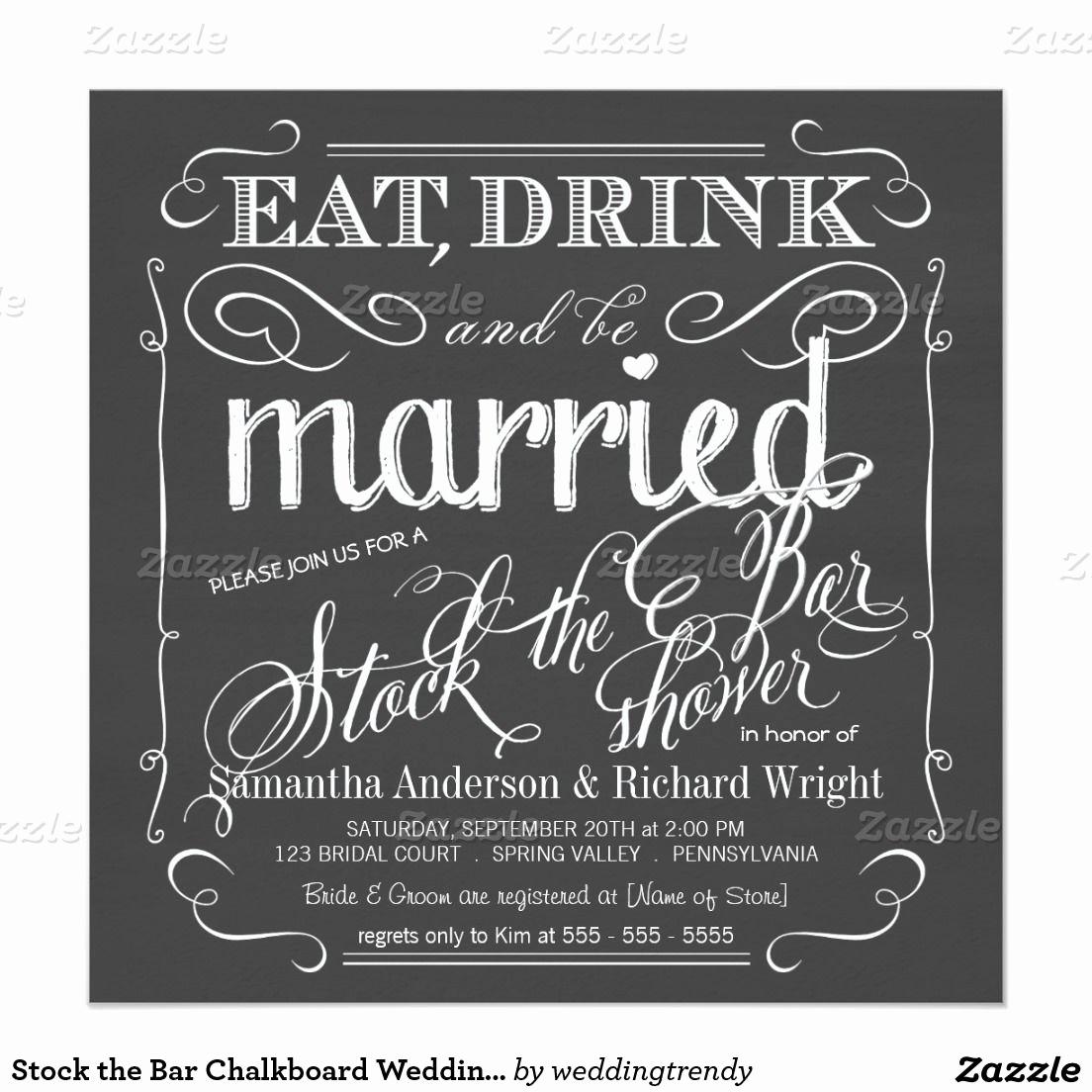Stock the Bar Invitation Luxury Stock the Bar Chalkboard Wedding Shower Invitation