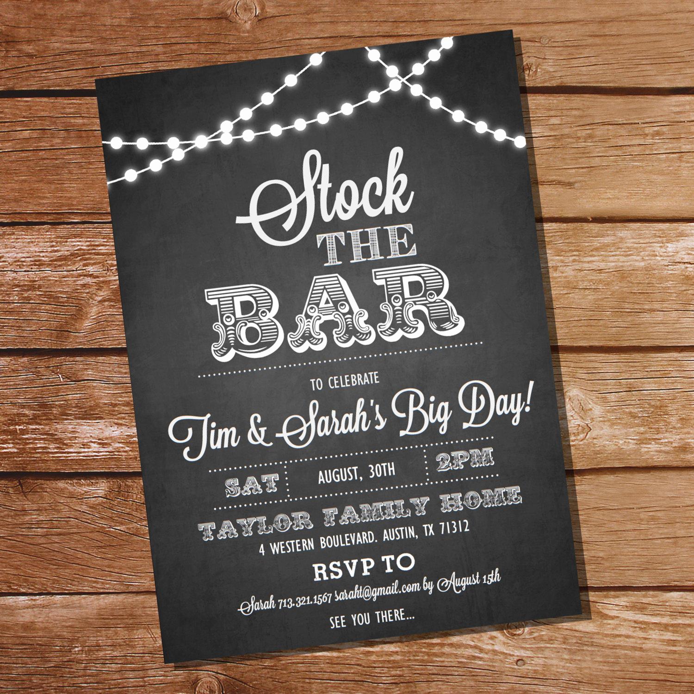 Stock the Bar Invitation Unique Chalkboard Stock the Bar Engagement Party Invitation Stock