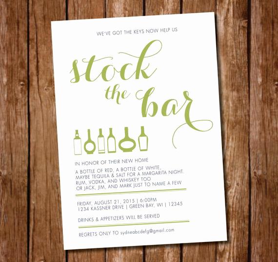 Stock the Bar Invitation Unique Printable Housewarming Stock the Bar Party Invitation