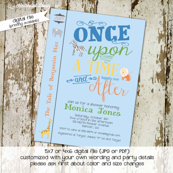 Storybook Baby Shower Invitation Awesome Storybook Baby Shower Invitation Safari Book Cover Bring A