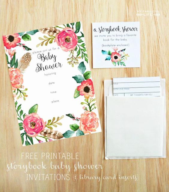 Storybook Baby Shower Invitation Beautiful Free Printable Baby Shower Invitations