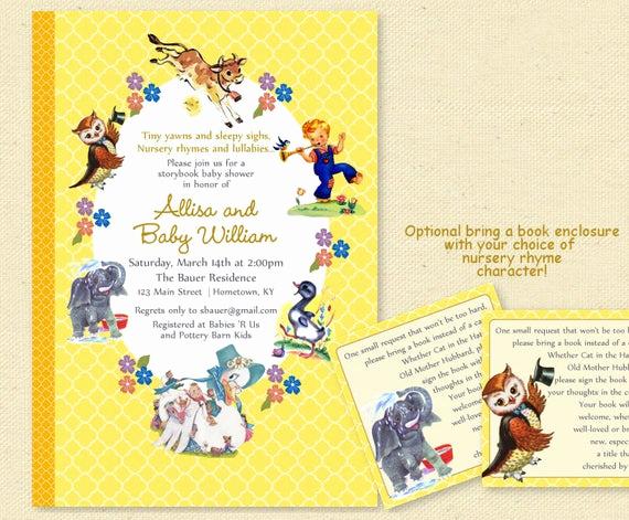 Storybook Baby Shower Invitation Fresh Baby Shower Nursery Rhyme Storybook Invitation Book Baby