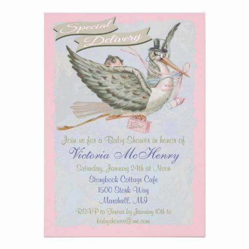"Storybook Baby Shower Invitation Lovely Vintage Storybook Stork Baby Shower Invitations 5"" X 7"
