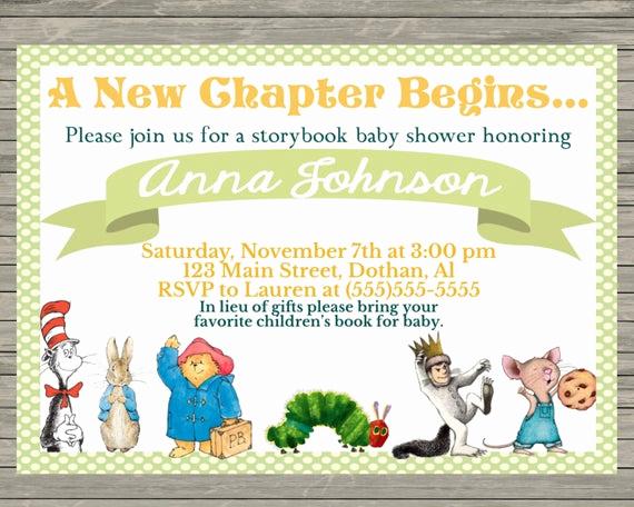 Storybook Baby Shower Invitation Luxury Story Book Baby Shower Invitation Bring A Book by Mkellydesign