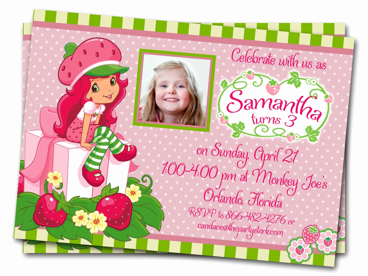 Strawberry Shortcake Invitation Template Free Awesome Items Similar to Strawberry Shortcake Birthday Invitations