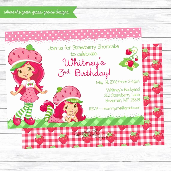 Strawberry Shortcake Invitation Template Free Awesome Strawberry Shortcake Birthday Invitation Printable