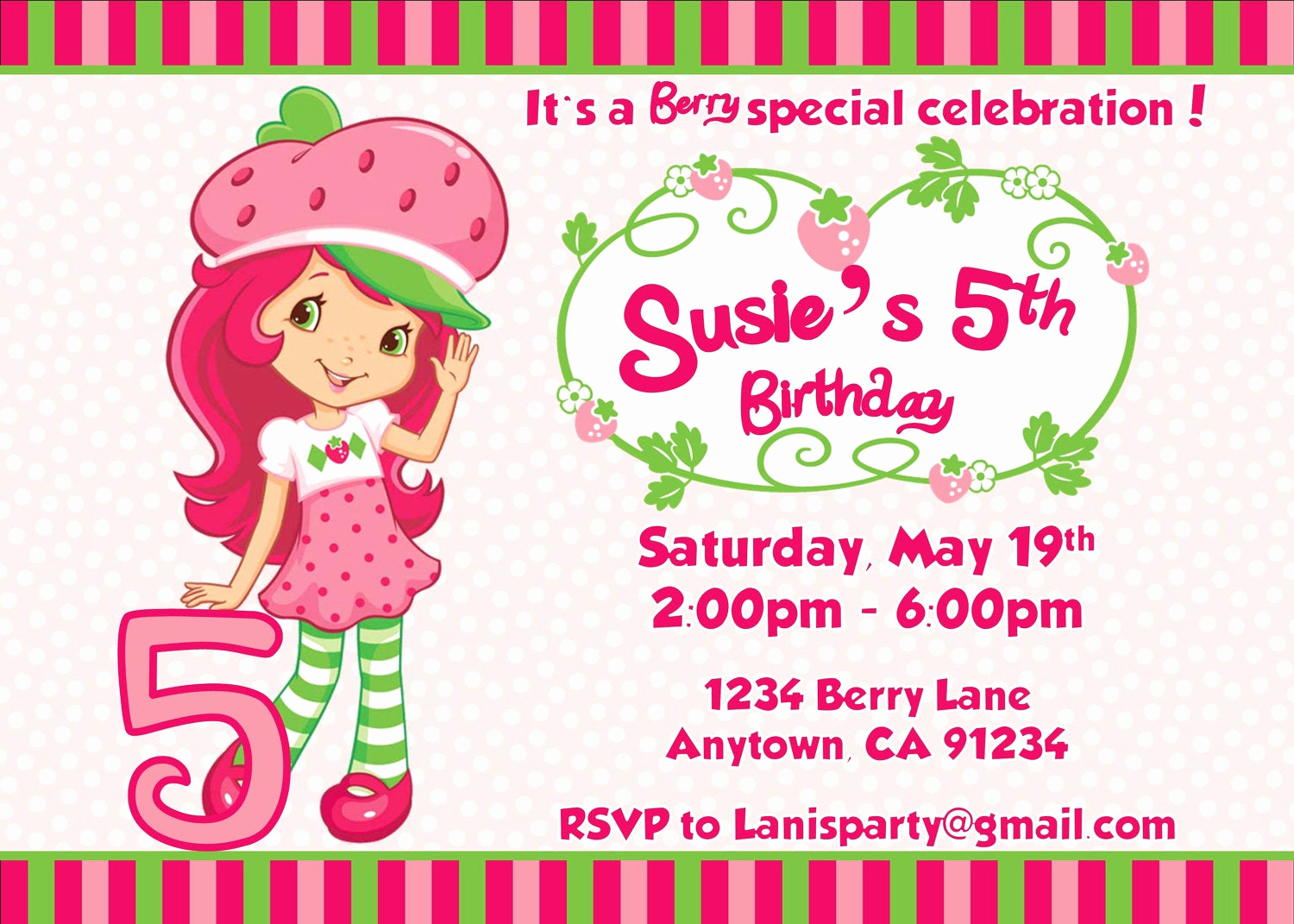 Strawberry Shortcake Invitation Template Free Best Of Off Sale Strawberry Shortcake Invitation by