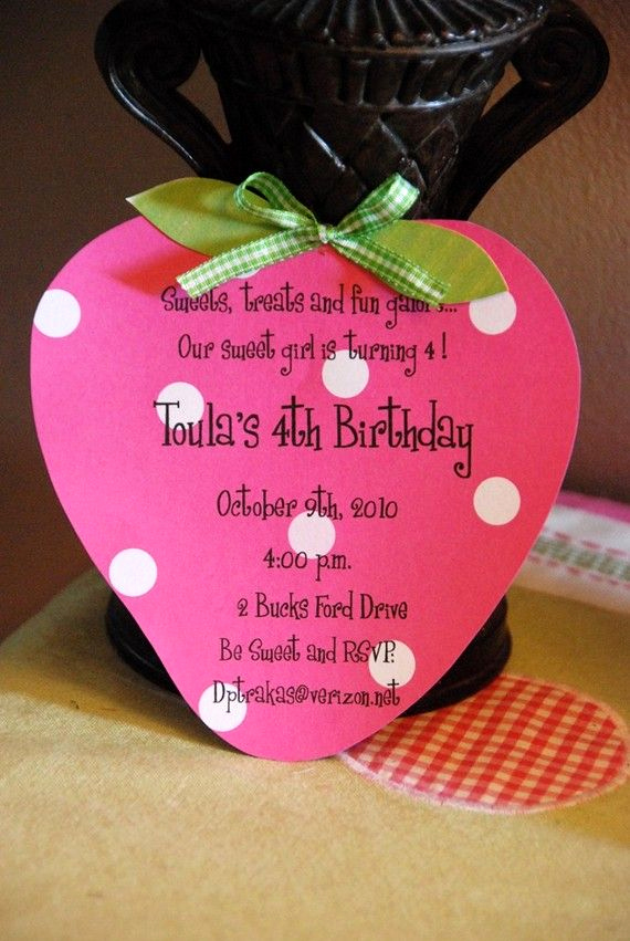Strawberry Shortcake Invitation Template Free Lovely 10 Strawberry Birthday Invitation Invitations
