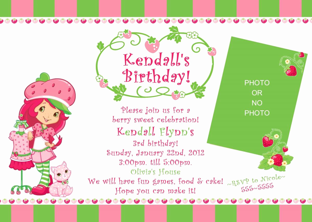 Strawberry Shortcake Invitation Template Free Lovely Strawberry Shortcake Birthday Invitation Digital File