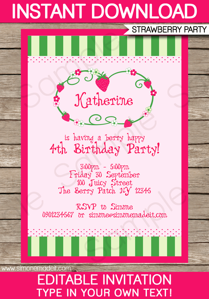 Strawberry Shortcake Invitation Template Free Lovely Strawberry Shortcake Party Invitations Template