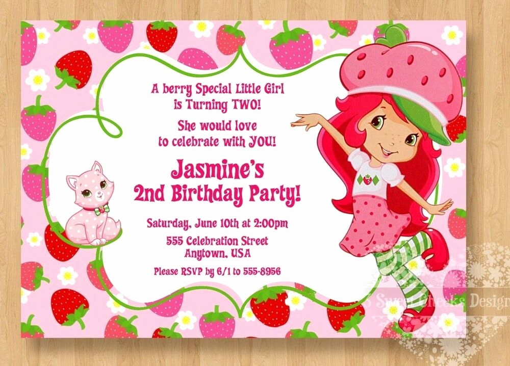 Strawberry Shortcake Invitation Template Free Luxury Strawberry Shortcake Birthday Party Invitations Cute 1st