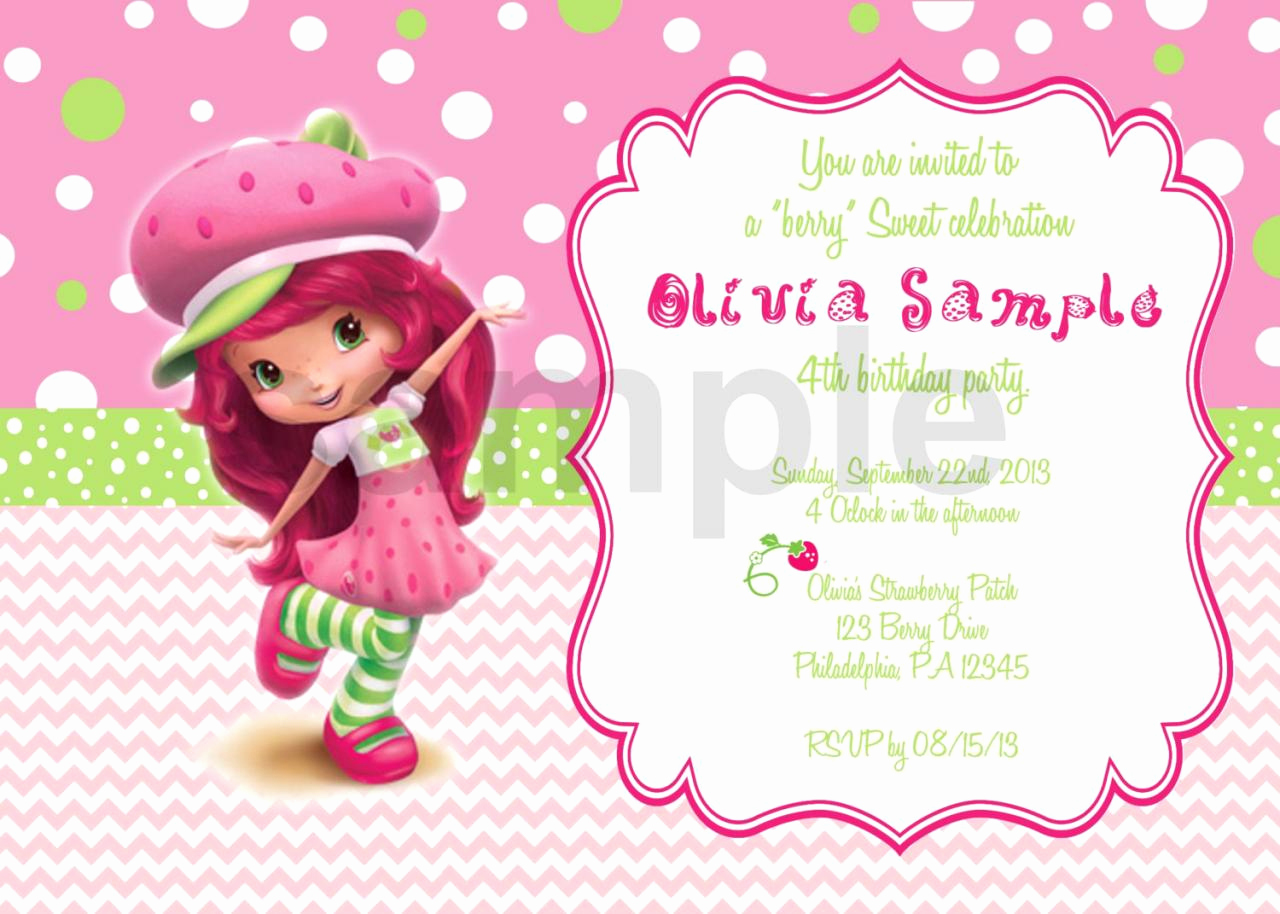 Strawberry Shortcake Invitation Template Free New Strawberry Shortcake 2 Birthday Invitation Digital File