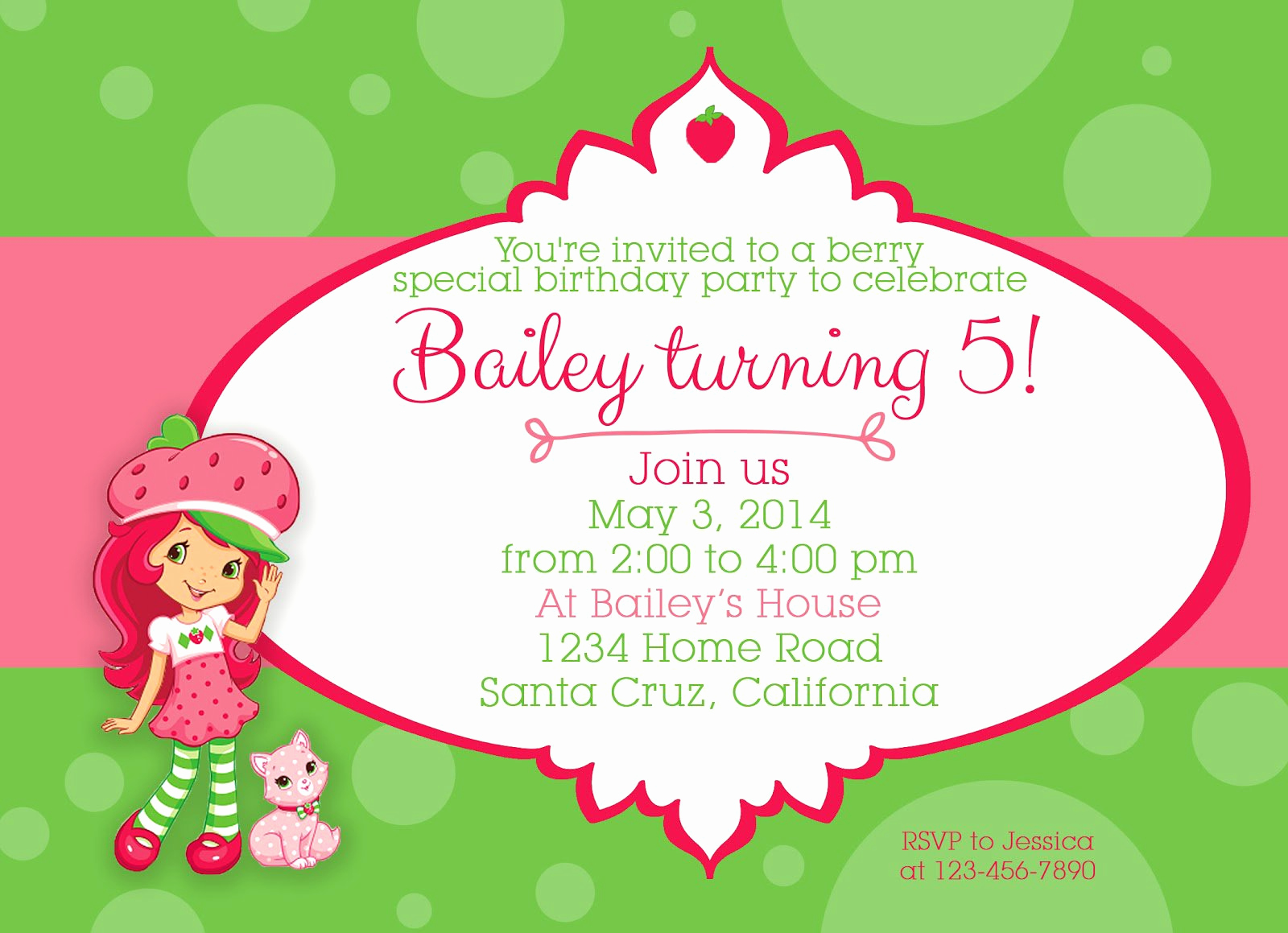 Strawberry Shortcake Invitation Template Free Unique Strawberry Shortcake Birthday Invitations