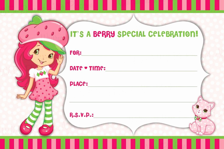 Strawberry Shortcake Invitation Templates Awesome Strawberry Shortcake Free Printable Birthday Invitations
