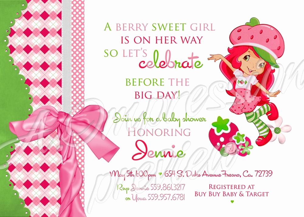 Strawberry Shortcake Invitation Templates Best Of Strawberry Shortcake Baby Shower Invitation