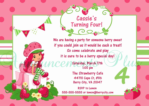 Strawberry Shortcake Invitation Templates Best Of Strawberry Shortcake Birthday Invitations Ideas – Bagvania