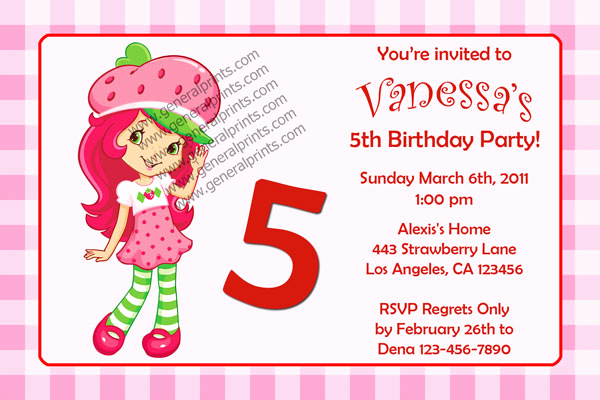 Strawberry Shortcake Invitation Templates Elegant Strawberry Shortcake Invitations General Prints