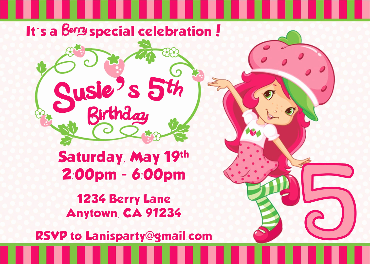 Strawberry Shortcake Invitation Templates Elegant Strawberry Shortcake Personalized Birthday Invitations