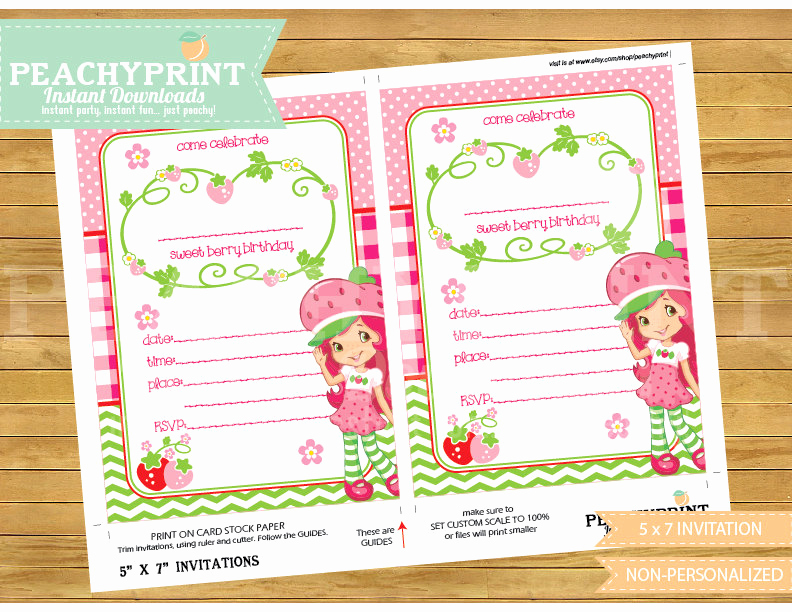 Strawberry Shortcake Invitation Templates Fresh Strawberry Shortcake Invitation Instant Download