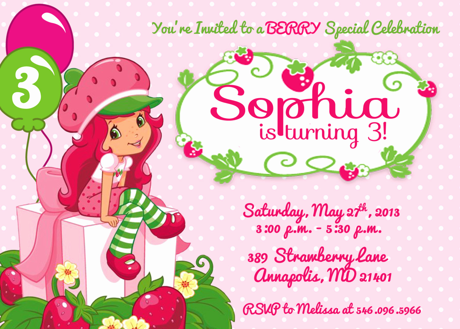 Strawberry Shortcake Invitation Templates Lovely Strawberry Shortcake Birthday Party Invitation Printable or