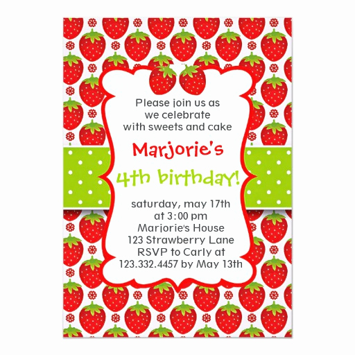 Strawberry Shortcake Invitation Templates Lovely Sweet Strawberry Birthday Party Invitation